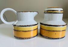 Stonehenge Midwinter Sun Yellow & Orange Creamer & Sugar Bowl with Lid - England