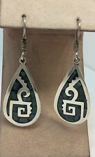 Mosaic Turquoise Onyx Teardrop Earrings Sterling Silver Taxco Mexico Inlaid