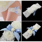 Delicate White Lace Bridal Garter Blue Satin Bow Rhinestone Wedding Accessories
