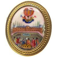 Antique 14k Historical Brooch, Enamel French Hot Air Balloons