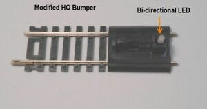 Atlas HO Scale code 100 #843 modified Bumper with 2 way LED light added