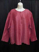 Eileen Fisher Woman Woven Pink Jacket Top Silk Linen Plus Size 1X
