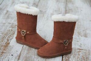 MICHAEL KORS MK Toddler Girls NEW Size 7 Brownie-T Chestnut Brown Zip Fur Boots