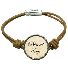 Blessed Gigi Brown Leather Cord Bracelet Jewelry Mother's Day Gift