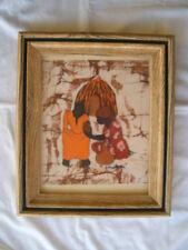 AFRICAN SCENE MAN & WOMAN BY HUT FRAMED BATIK ART SIGNED MATOM MATORN ?
