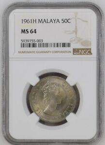 British Malaya 1961 Elizabeth II Fifty Cents 50 Cents NGC MS 64