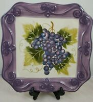 Tabletops Unlimited~Merlot Ceramic Dinner or Decor Plate~Hand Painted Grapes