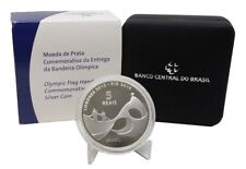 Brazil 2012 Olympic Game Flag Hand Silver coin 5 Reais  Unc with Box and Coa !!!
