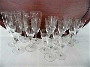 14 pieces vintage etched cut glass glasses wine or champagne sherry & port