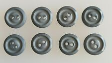 8 x 16mm Mid Grey Ridged Ring Effect Round Plastic Buttons - B3182