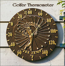 Whitehall Golfer Thermometer Indoor-Outdoor Battery Rust-Proof Aluminum 2 Colors