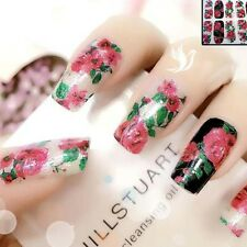 Red Sparkly Nail Art Wrap Full Cover Stickers Flower Floral #06178 Free P&P