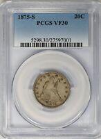 1875-S PCGS 20C Seated Liberty Twenty Cent Piece Very Fine VF30