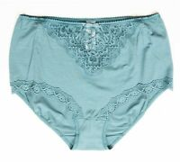 Per Una M&S Teal Stretch Cotton Full Briefs Knickers 12 Sheer Lace Trim Panties