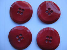 41mm Extra Large Glossy Cherry Red Twisted  Vintage Sewing Buttons  Set of 4
