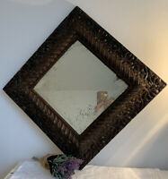 1800 ANTIQUE VINTAGE VICTORIAN WOOD MIRROR OLD BEVELED SILVER GLASS WOOD BACKING