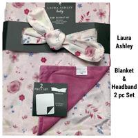 New Laura Ashley Baby Blanket & Headband 2 Pc Set Pink Floral Flower Reversible