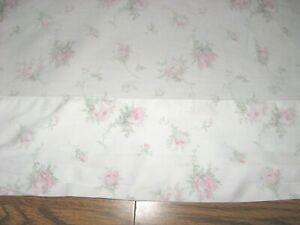 Vintage Cotton w/ Light Pink Roses & Green Leaves on White Flat Sheet - Full