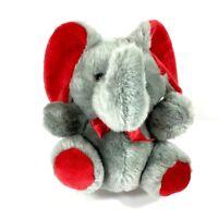 "Vintage Embrace Elephant Plush Stuffed Animal Toy Gray w/ Red Bow 12"" Long EUC"