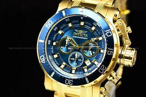 Invicta Men's 52MM Coalition Forces Gold Blue Chronograph Bracelet SS Watch