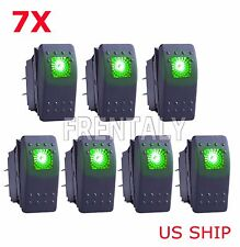 7x Green S2 4Pin Waterproof 12V 20A Bar Rocker Toggle Switch LED Light Car Boat