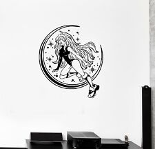 Wall Decal Sexy Girl Fantasy Moon Stars Beautiful Vinyl Sticker (ed1342)