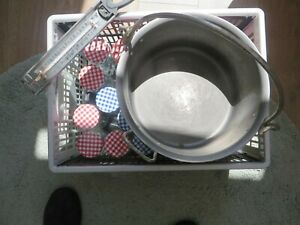 Jam making pan, thermometer and jam pots