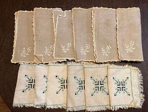 12 Vintage Luncheon Cocktail Napkins Linen Cotton 2 Patterns - 6 Each  - C22