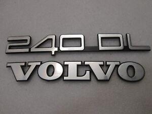 90-95 Volvo 240 DL Rear Trunk Emblem OEM Badge Logo Lid Label set silver vintage
