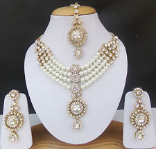 Ethnic Bridal Necklace Earrings Indian Fashion Jewelry Bollywood Tikka Pearl Set