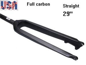 "Full Carbon MTB XC Road Bike Rigid Straight Fork 1 1//8/"" 28.6mm Bicycle Forks 29/"""