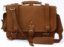 Distressed Leather Men's Briefcase Laptop Messenger Shoulder Bag Satchel XL