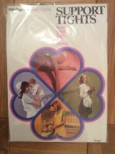 Vintage New Sealed Slightly imperfect Wolford Support Tights Large Shade Medium