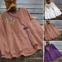 Women Cotton Vintage Chinese Style Ethnic Tops Embroidery Loose Shirt Blouse Tee