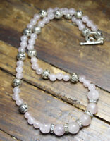Rose Quartz Pink Ball Gemstone Silver Rose bud Ball & Rhinestone Necklace 18""