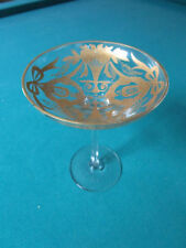 """FOOTED MOSER STYLE COMPOTE BOWL GOLD DECOR 7 X 5"""" [*GLASS8]"""