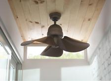 """Unique 32"""" Small Flower Ceiling Fan Remote Antique Industrial Bronze Loft Cabin"""