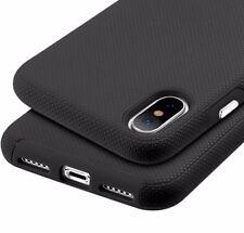For iPhone X - HARD HYBRID HIGH IMPACT ARMOR BLACK NON-SLIP PHONE CASE COVER