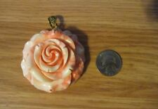 Pink Seashell Hand-carved Large Rose Pendant #A