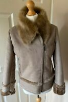 Pure Collection Faux Suede Fur Lined Jacket Uk 10 Beige Cozy Soft Warm
