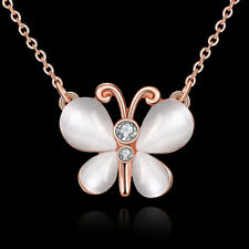 Elegant 18k 18CT Rose Gold Filled GF Butterfly Pendant Chain Necklace N531