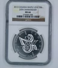 2013 CANADA MAPLE LEAF S $5 25TH ANNIVERSARY COIN - MS 66 - NGC