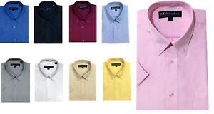 Men's Short Sleeve Button Down Shirts Cotton Blend Oxford #02BS