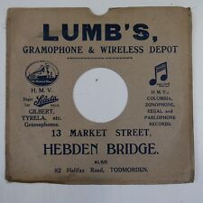"10"" 78 rpm gramophone record sleeve LUMB`S hebden bridge"