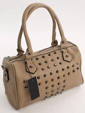 Design Bowling Tote Bag Hand Trage Henkel Tasche mit Nieten Taupe - Schlamm 483T