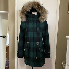 Freed & Freed Parka Size Small Abbey Wool Fur Hood Green Plaid Check