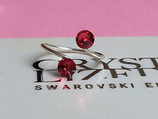 Silver Plated Indian Pink Toe/Knuckle Ring made with Swarovski Crystal Elements