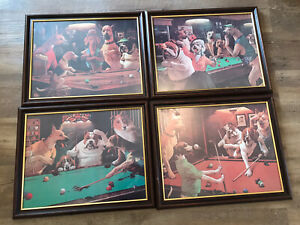 Snooker Pool Table Dog Prints Inclduing Frame  Arthur Sarnoff Pictures X 4