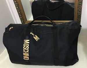 MOSCHINO Italy BOSTON Duffel Sports Bag Black GOLD METAL LOGO Vintage 90's
