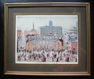 "Framed, L.S. Lowry print ""V.E.Day Celebrations"", overall size 12 3/4 x 10 3/4"""